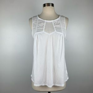 Anthropologie Deletta Lace Trimmed Sleeveless Top
